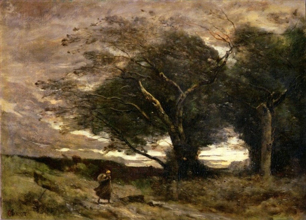 Detail of Gust of Wind by Jean Baptiste Camille Corot