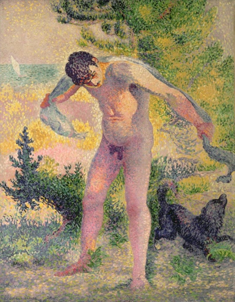 Detail of Bather drying himself at St. Tropez by Henri-Edmond Cross