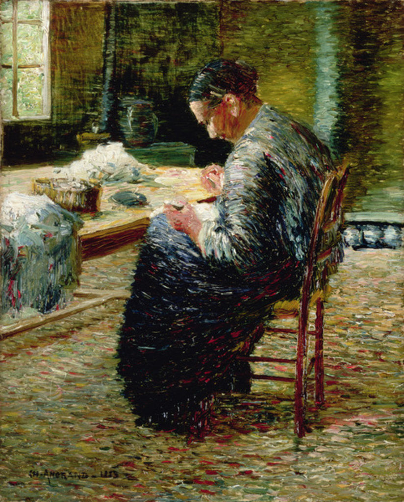 Detail of Portrait of the Artist's Mother Sewing by Charles Angrand
