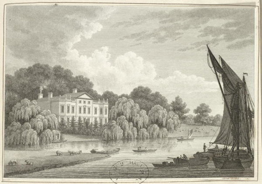 Detail of Country House with Lake and Boats by Walter Williams