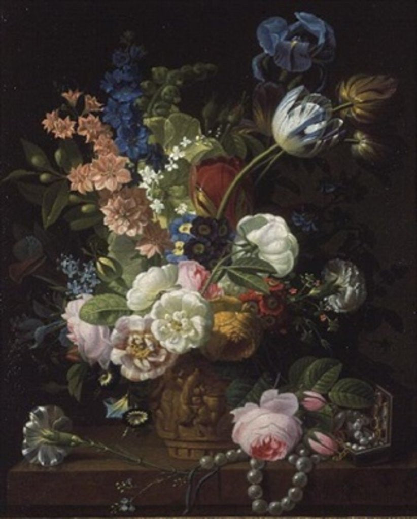 A Still Life of Roses, Tulips, Carnations, Stocks and Other Flowers in a Decorative Urn, Resting on a Stone Ledge