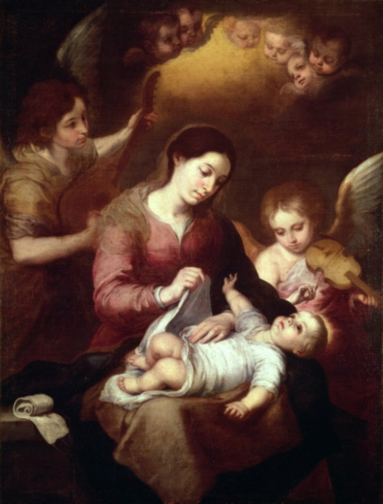 Detail of Madonna Wrapping the Christ Child in Swaddling Robes by Bartolome Esteban Murillo