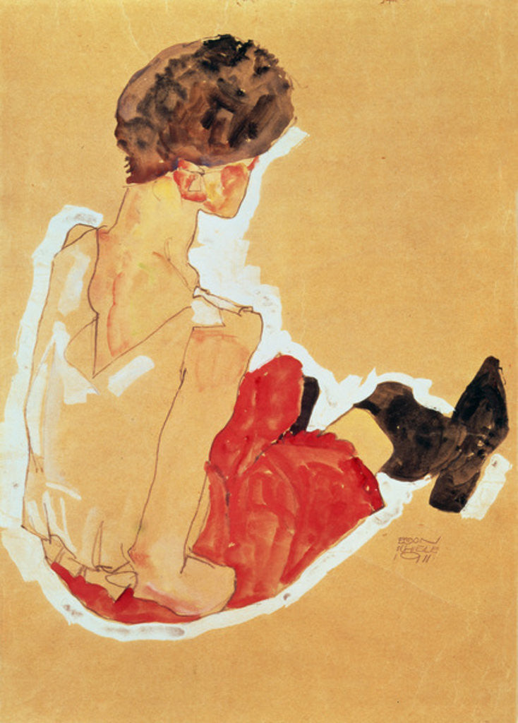 Detail of Seated Woman by Egon Schiele