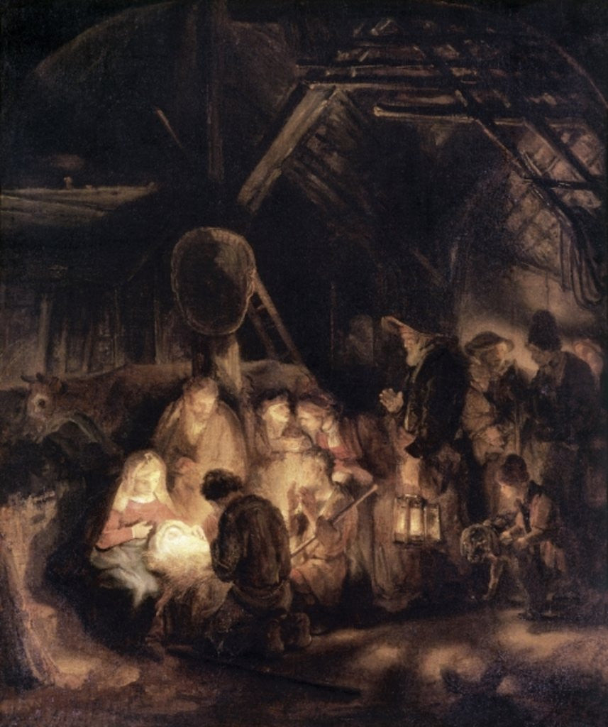 Detail of Adoration of the Shepherds by Rembrandt Harmensz. van Rijn