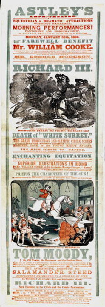Detail of Astley's Circus poster advertising the Farewell Benefit of Mr. William Cooke by English School