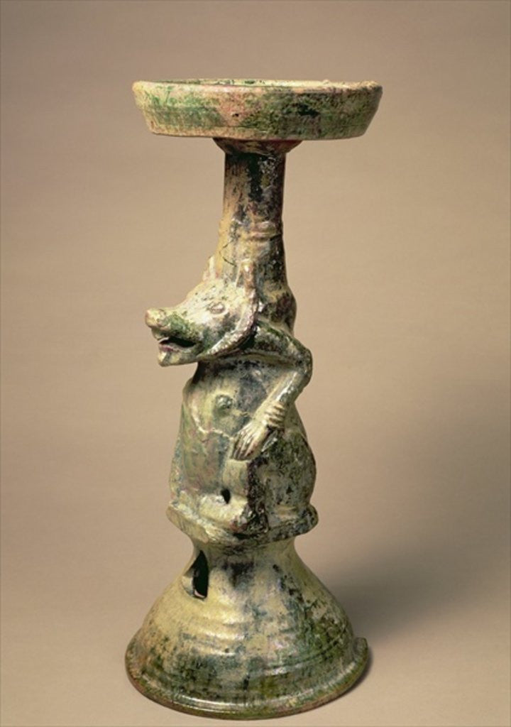 Detail of Early Chinese pottery lamp, tomb artefact, Han Dynasty by Han Dynasty Chinese School