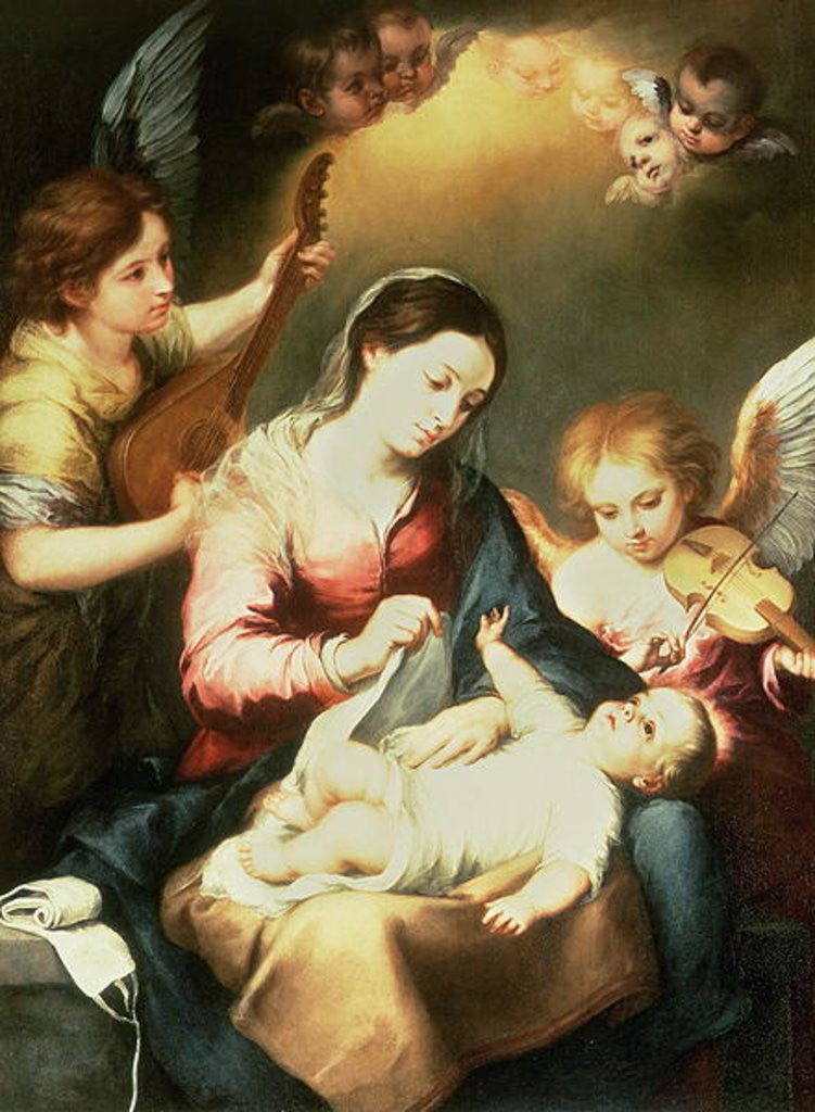 Detail of Virgin of the Swaddling Clothes by Bartolome Esteban Murillo
