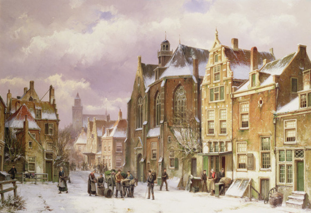Detail of Snow in Amsterdam by Willem Koekkoek