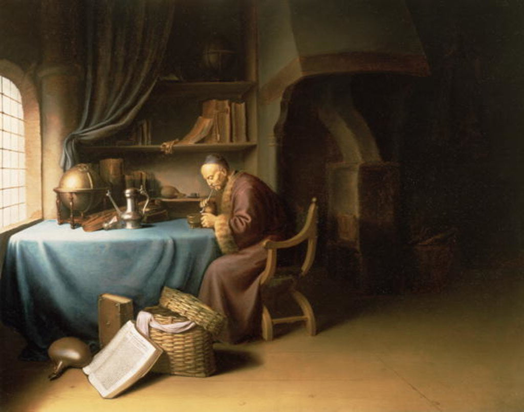 Detail of An Old Man Lighting his Pipe in a Study by Gerrit or Gerard Dou