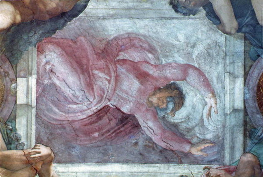 Detail of Sistine Chapel Ceiling: God Dividing Light from Darkness by Michelangelo Buonarroti