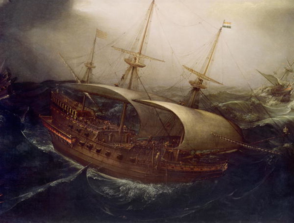 Detail of Dutch Battleship in a Storm by Hendrick Cornelisz. Vroom