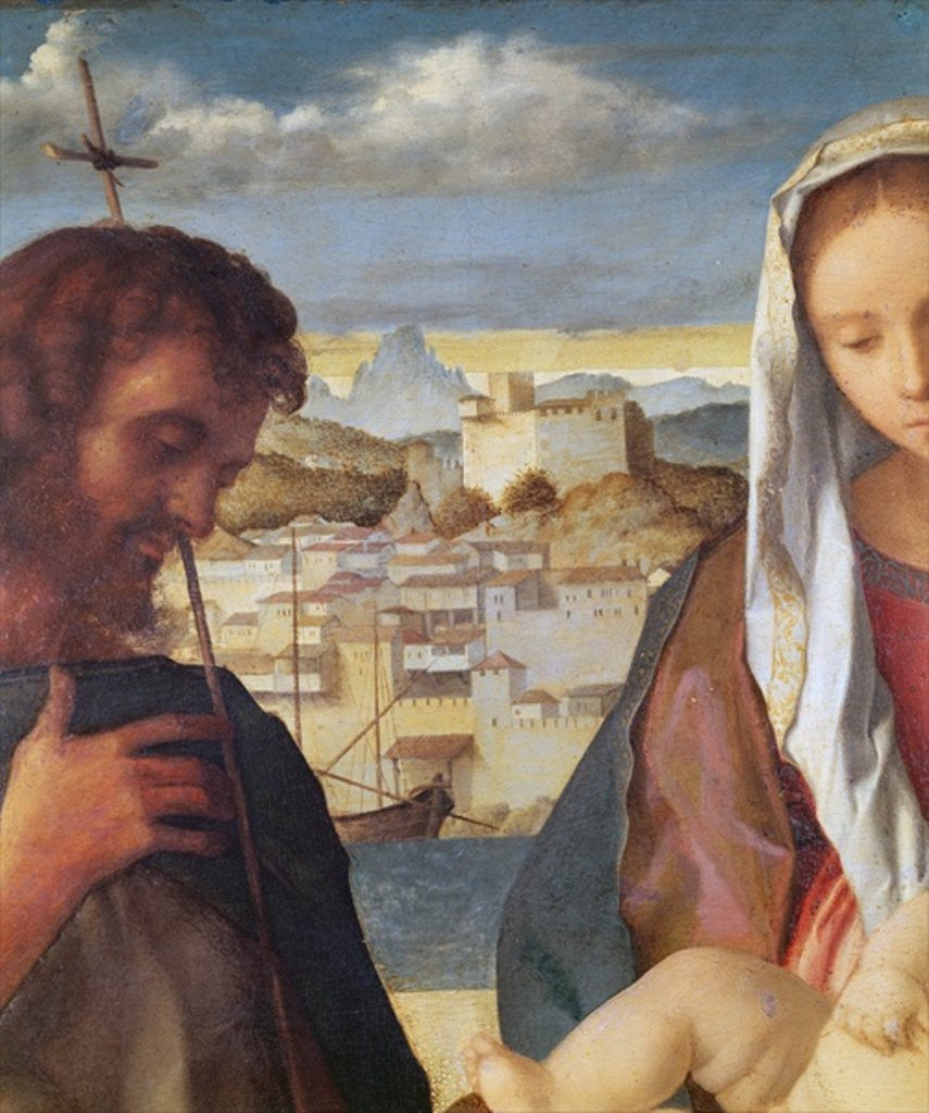 Detail of Madonna and Child with St.John the Baptist and a Saint, detail of the background waterside city by Giovanni Bellini