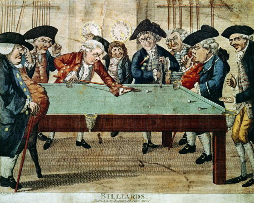 Detail of Billiards, 18th century etching by R.Sayer by English School