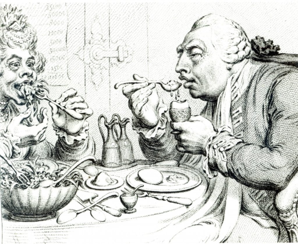 Detail of Temperance Enjoying a Frugal Meal by James Gillray
