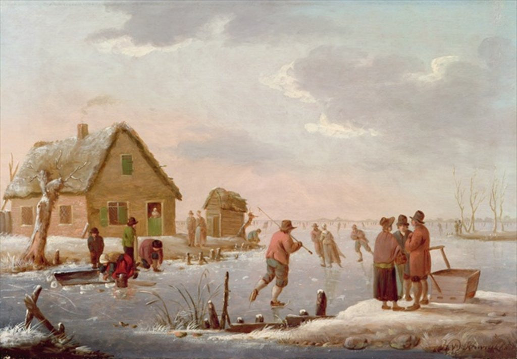Detail of Figures Skating in a Winter Landscape by Hendrik Willem Schweickardt
