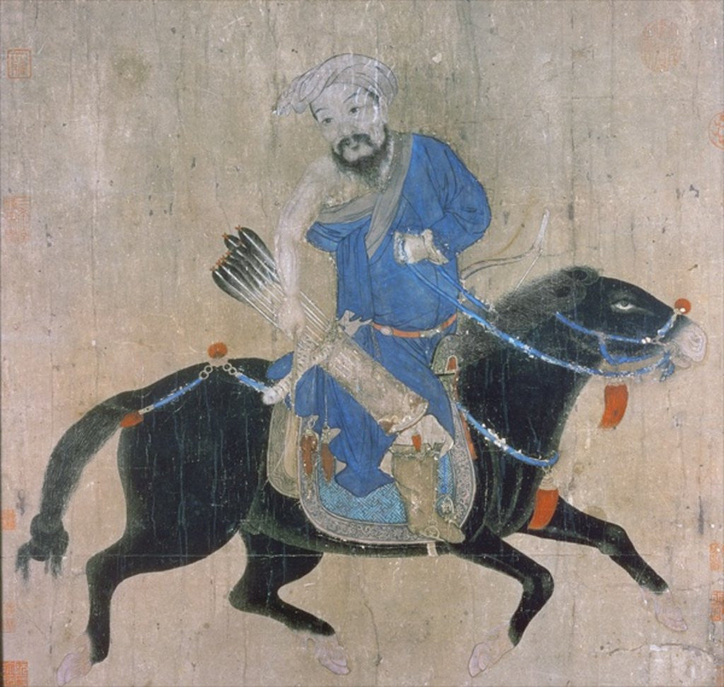 Detail of Mongol archer on horseback by Ming Dynasty Chinese School