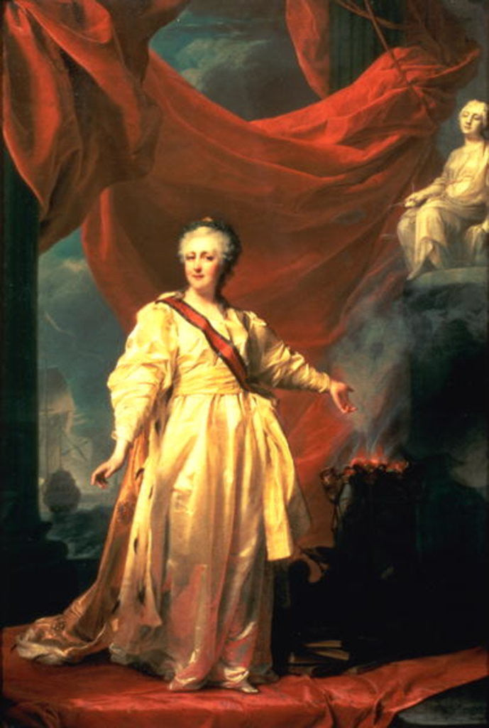 Detail of Portrait of Catherine the Great as Lawgiver in the Temple of the Goddess of Justice by Dmitri Grigor'evich Levitsky