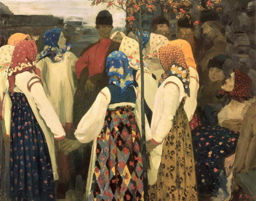 Detail of A lad has wormed his way into the girl's round dance by Andrei Petrovich Ryabushkin