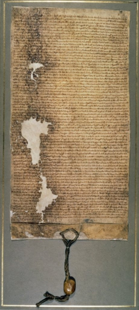 Detail of Magna Carta, the final version issued in 1225 by Henry III by English School