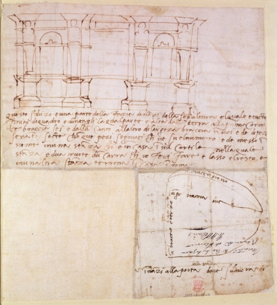 Detail of Architectural sketch with notes by Michelangelo Buonarroti