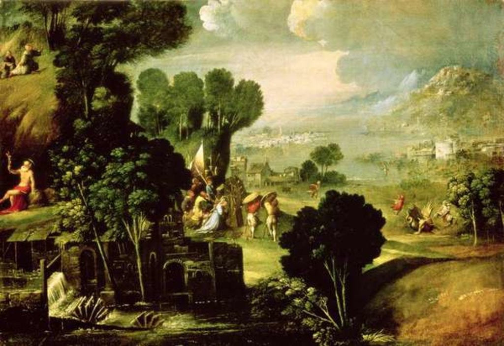 Detail of Landscape with Saints by Dosso Dossi