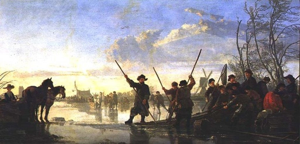 Detail of Skating scene with the Maas at Dordrecht by Aelbert Cuyp