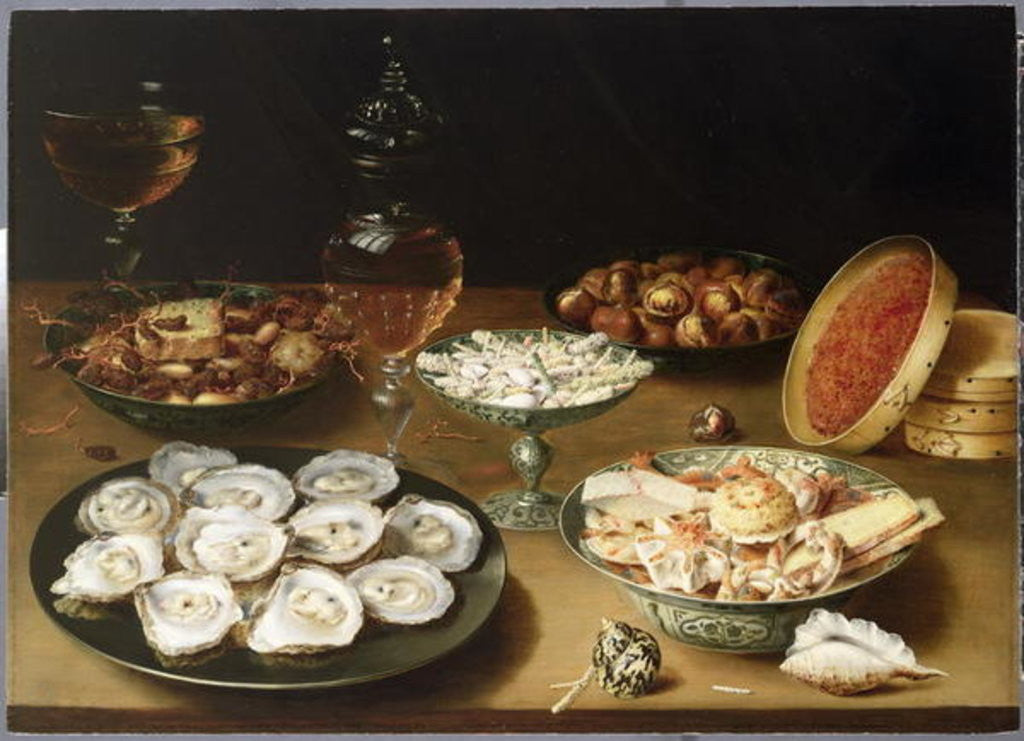Detail of Still life with oysters, sweetmeats and roasted chestnuts by Osias the Elder Beert