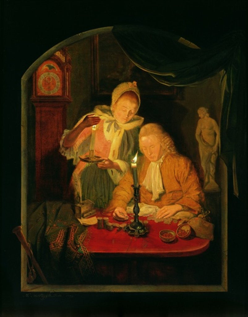 Detail of Couple counting money by candlelight by Michiel Versteegh
