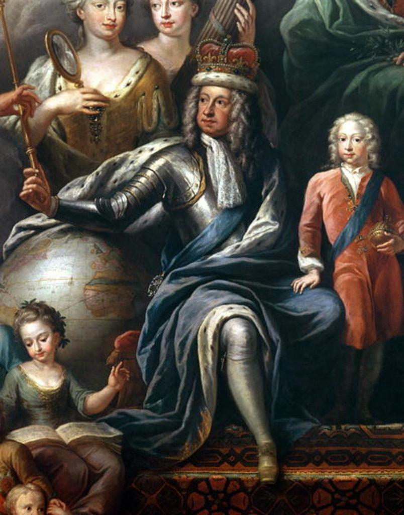 Detail of George I and his grandson, Prince Frederick, detail from the Painted Hall by Sir James Thornhill