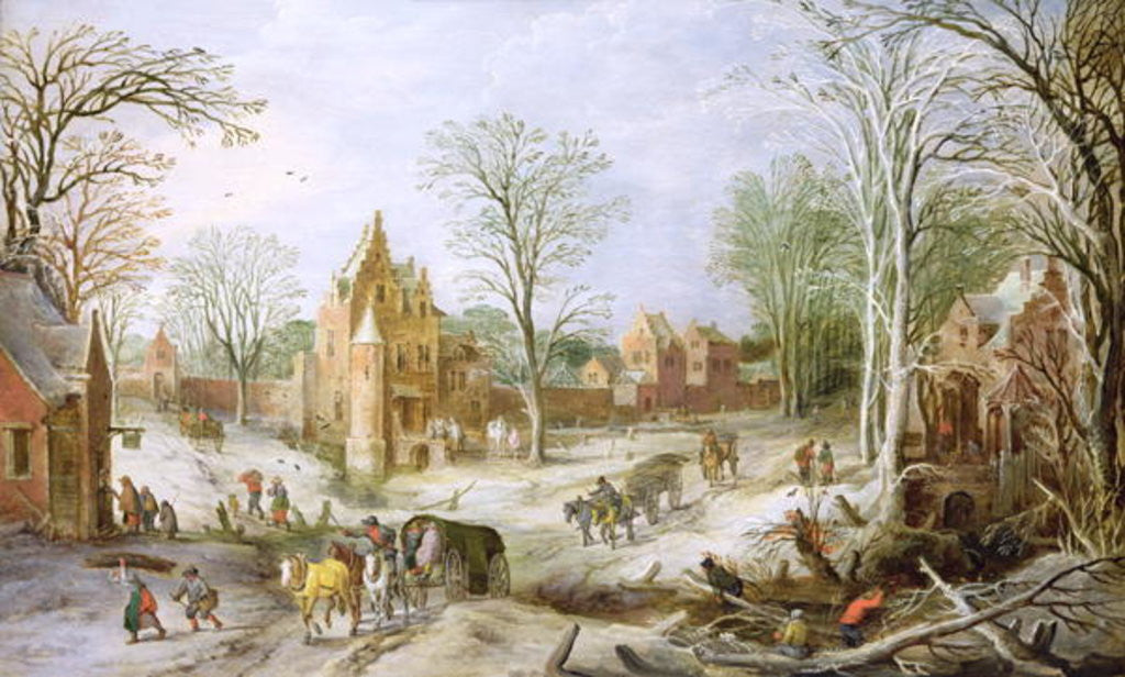 Detail of A wooded winter landscape with a cart by J. & Momper