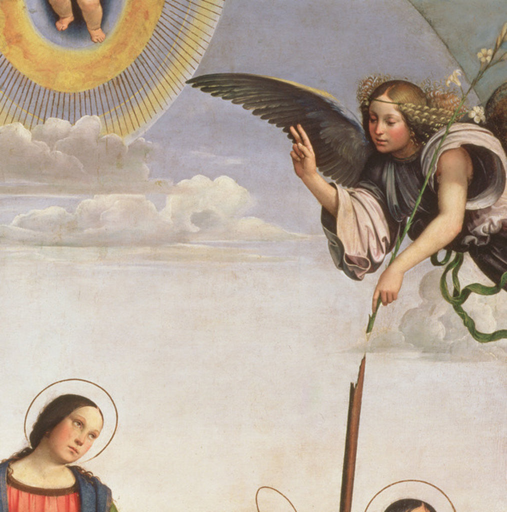 Detail of Annunciation and Saints, detail of the Archangel Gabriel by Il Francia