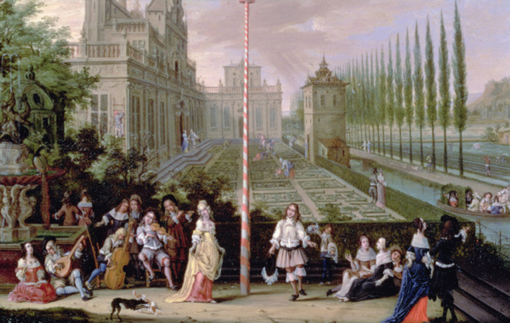 Detail of Detail of elegant figures playing musical instruments around a maypole by Pieter Gysels