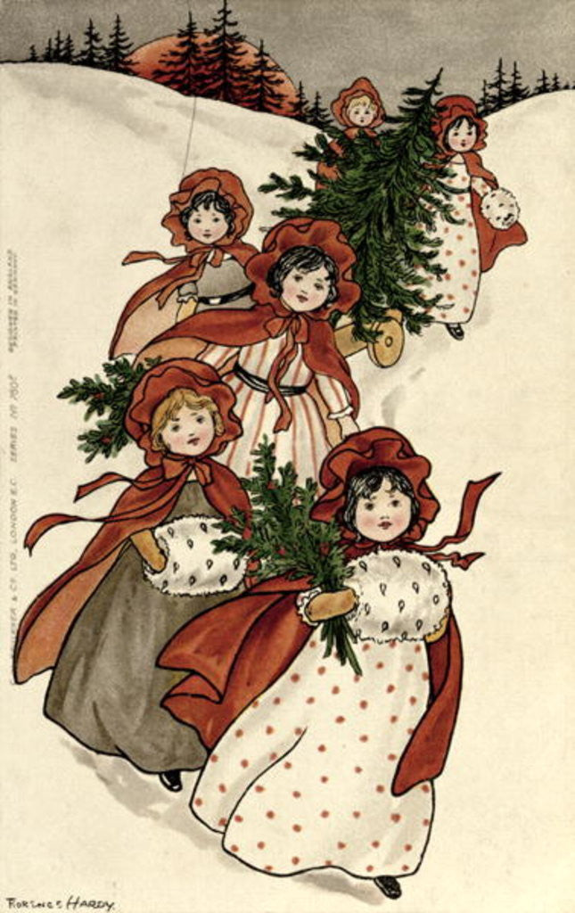 Little Girls with Holly and the Christmas Tree by Florence Hardy