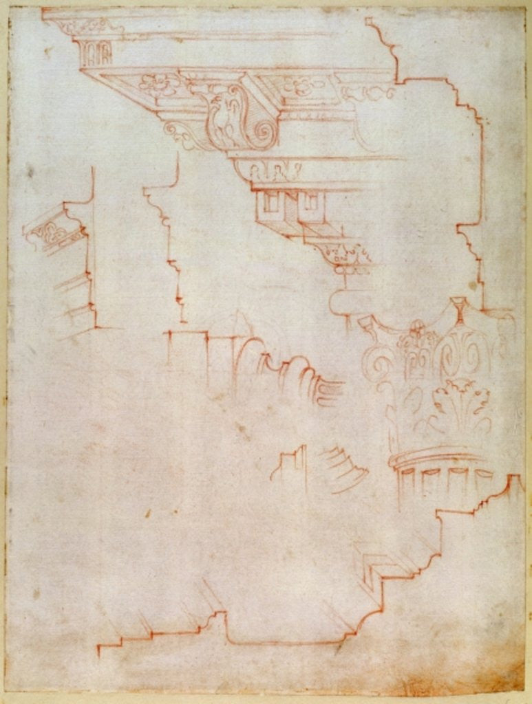 Detail of Drawing of architectural details by Michelangelo Buonarroti