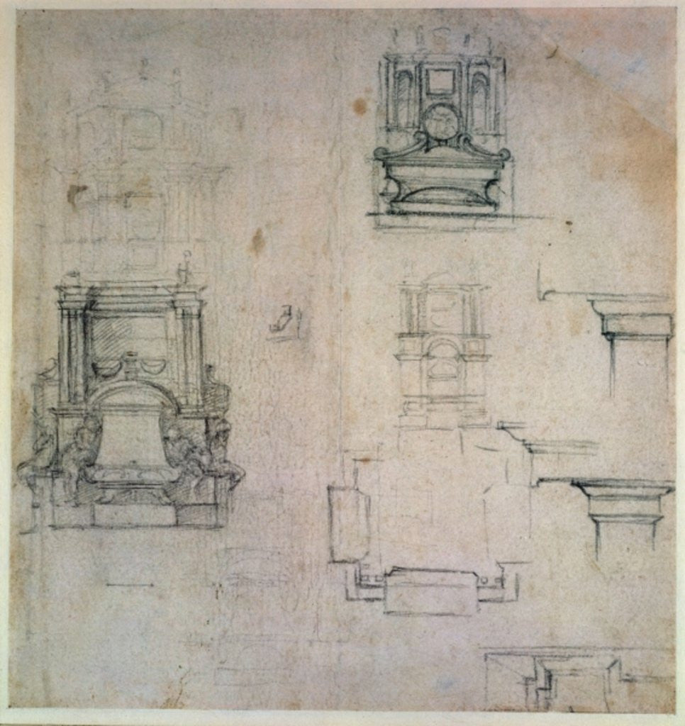 Detail of Designs for tombs by Michelangelo Buonarroti