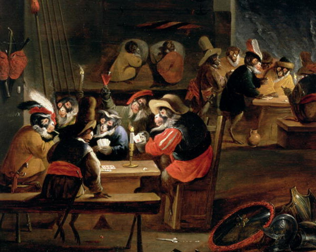 Detail of Monkeys in a Tavern, detail of the card game by Ferdinand van Kessel