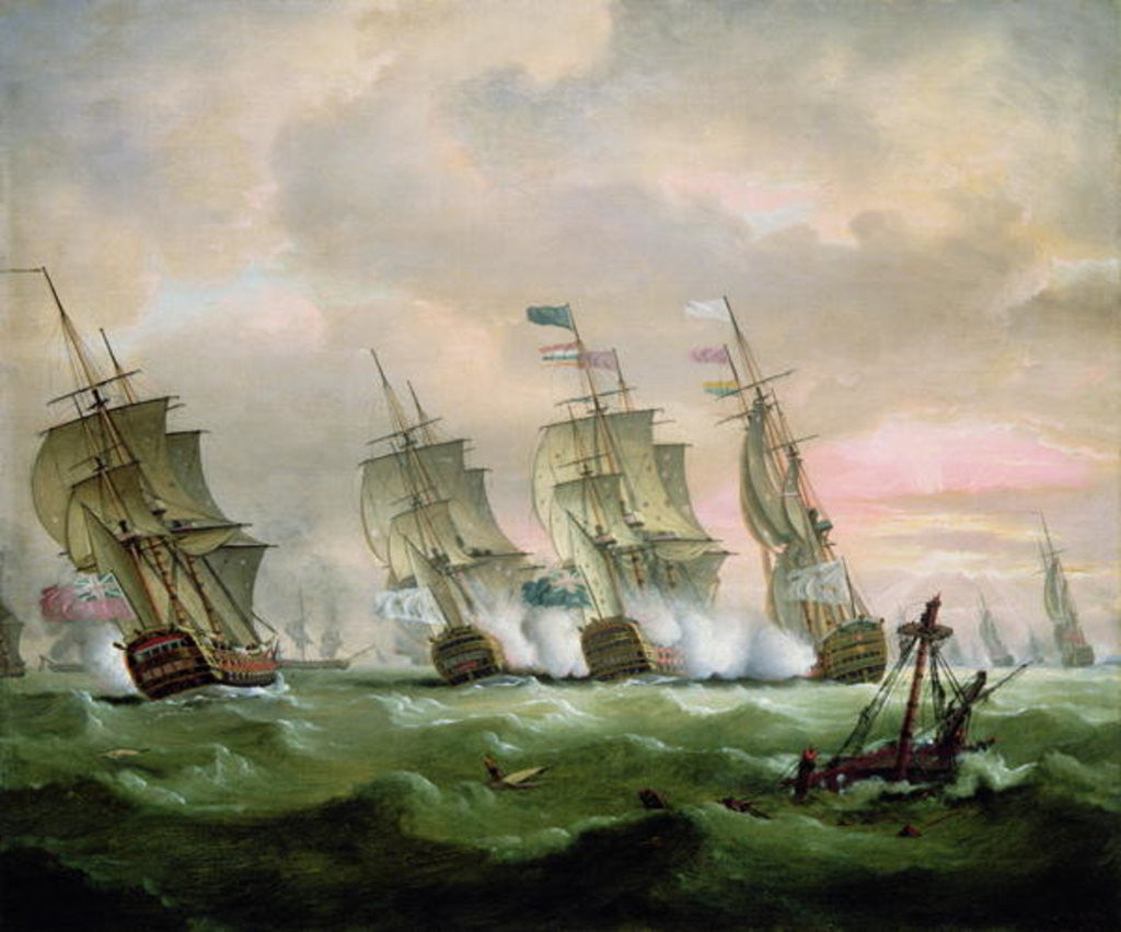 Detail of Admiral Sir Edward Hawke defeating Admiral M. de Conflans in the Bay of Biscay by Thomas Luny