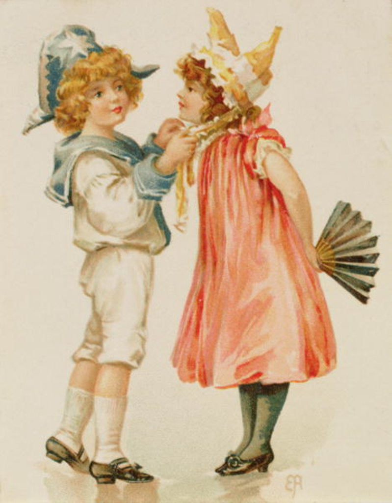 Detail of Party Time, Christmas postcard by English School