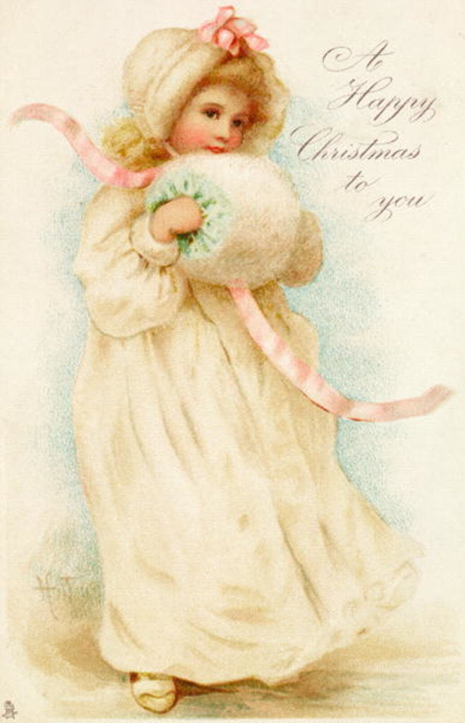 Detail of Christmas card depicting a girl with a muff by English School