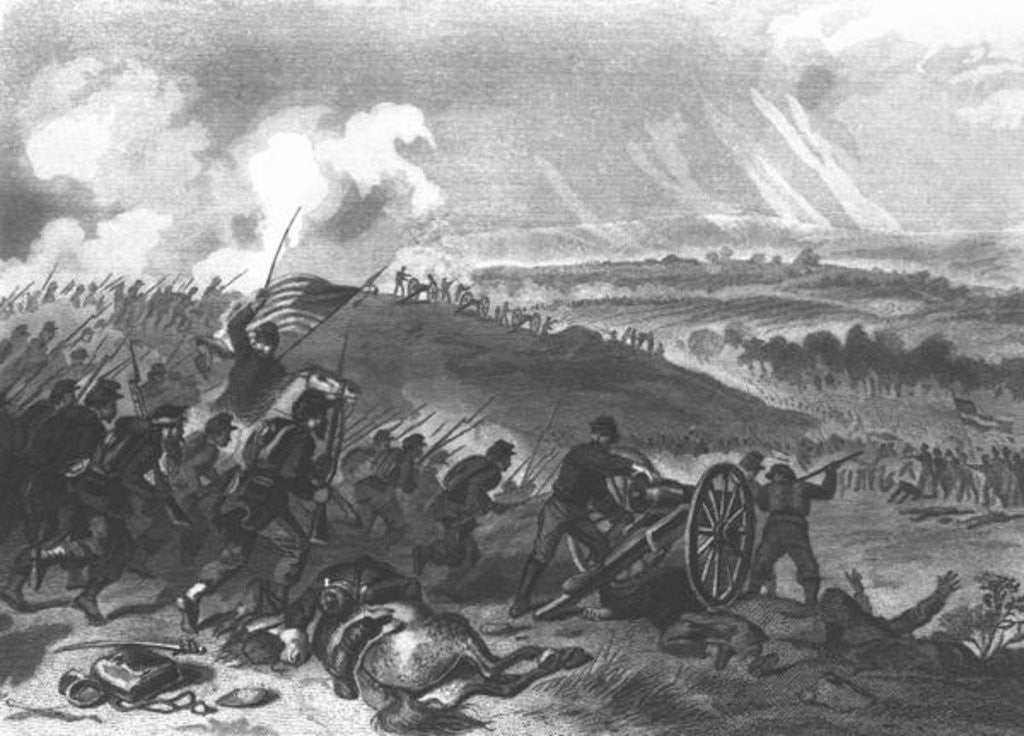Detail of Battle of Gettysburg - Final Charge of the Union Forces at Cemetery Hill by American School