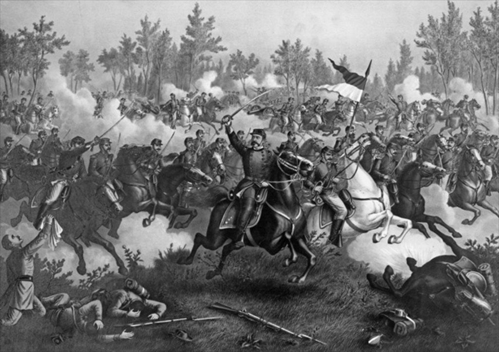 Detail of The Battle of Cedar Creek, Oct. 19th, 1864, pub. by Kurz & Allison, Chicago by American School