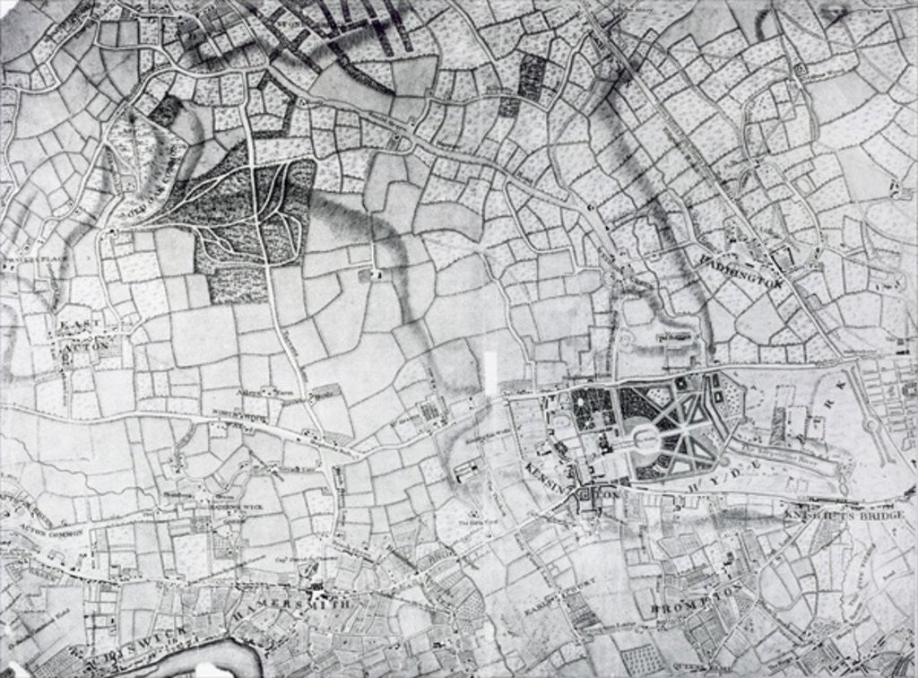 Detail of A section of a sheet from the survey of London and it's environs by John Rocque