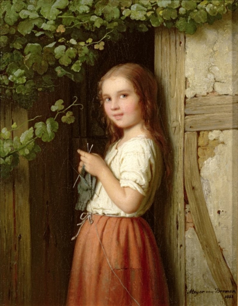 Detail of Young Girl Standing in a Doorway Knitting by Meyer von Bremen