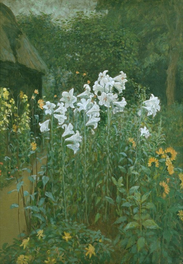 Detail of Madonna Lilies in a Garden by Walter Crane
