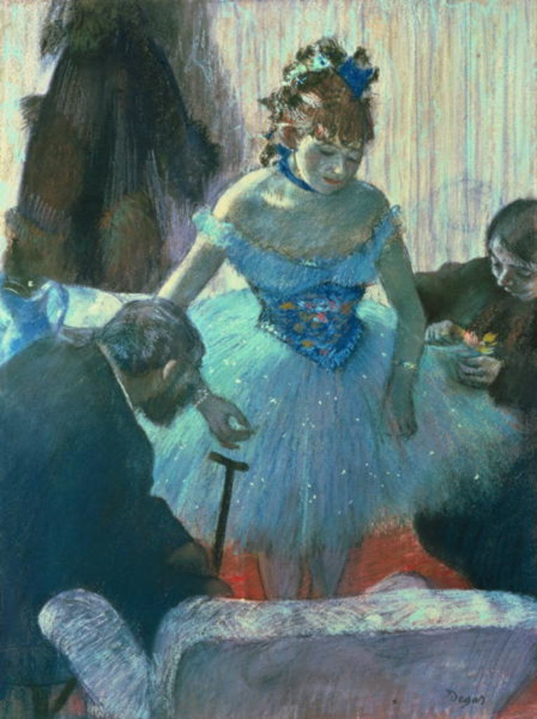 Detail of Dancer in her dressing room by Edgar Degas