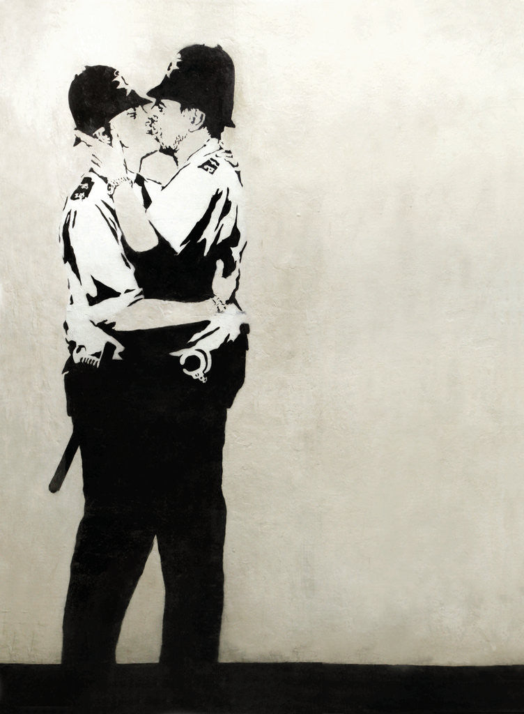 Detail of Kissing Coppers by Banksy