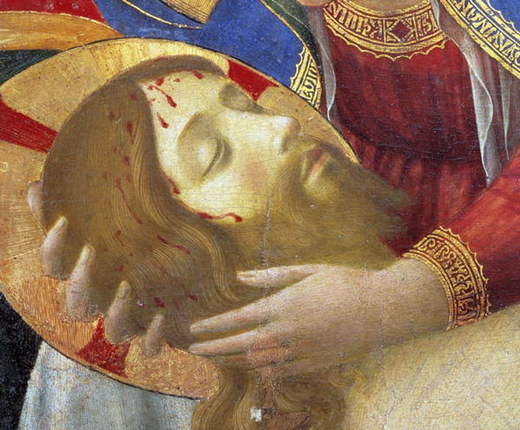 Detail of Altarpiece: Deploration or lamentation on the dead Christ by Fra Angelico