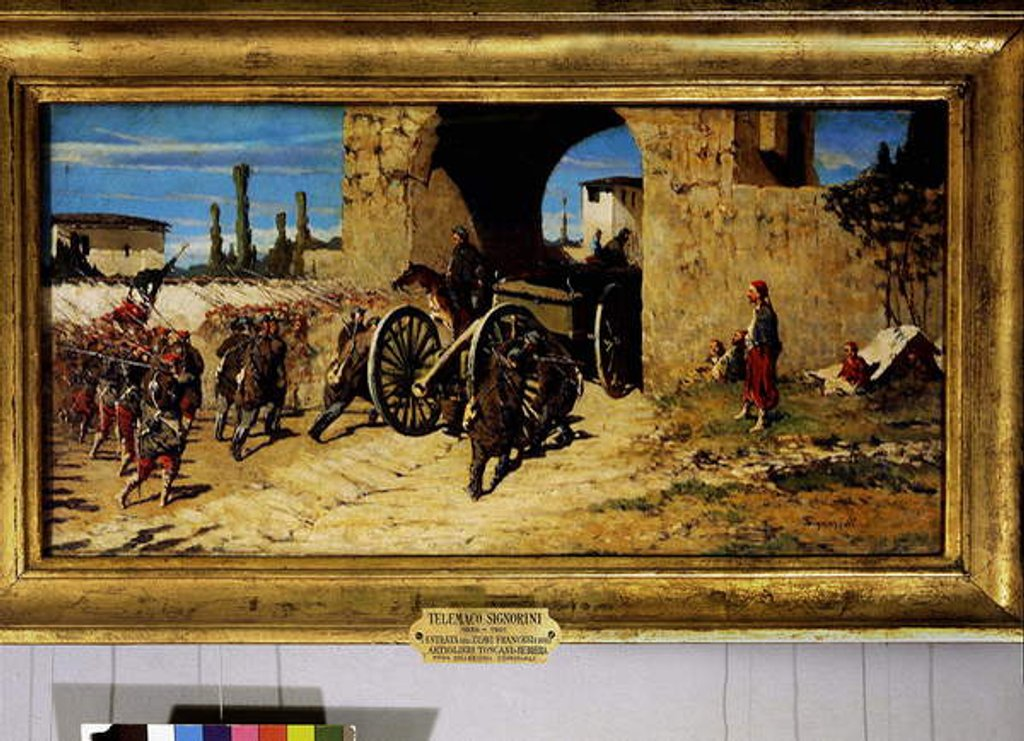 Avanti a braccia, entry of the French zouaves and the toscan artillery in Rubiera by Telemaco Signorini