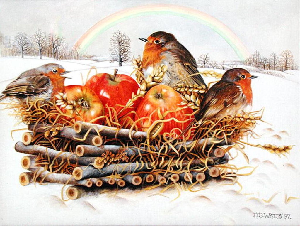 Detail of Robins with Apples, 1997 by E.B. Watts