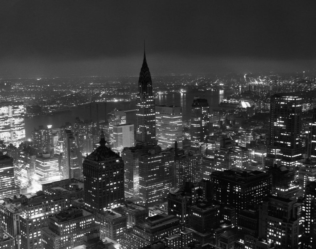 Detail of New York City at Night by Corbis